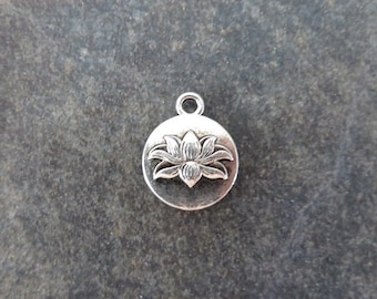 8 Small Lotus Blossom Circle Charms Beautiful Double Sided Coin Shaped Flower Charm Jewelry 16x13 mm