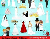 MK20 - Wedded Bliss Clipart Pack - Digital Scrapbook - Graphics - Clip art - Collage Sheets - Digistamps - Bridal Gown - Cake - Wedding Ring