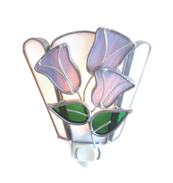 Stained Glass Night Light Purple Flowers Handmade OOAK