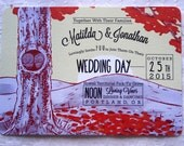 Wedding Invitation Set Autumn Cuddling Owls Theme