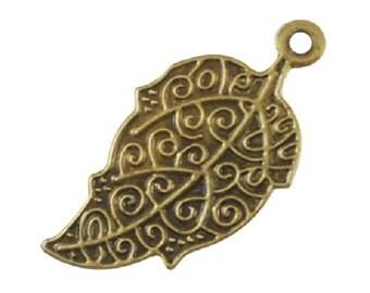 12pc 51x27mm antique bronze finish iron leaf pendant-8271