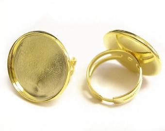 2pc gold finish round cabochon adjustable ring shanks-9278