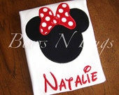 Minnie Mouse with Bow Applique Shirt With FREE Monogram - Perfect for Disney