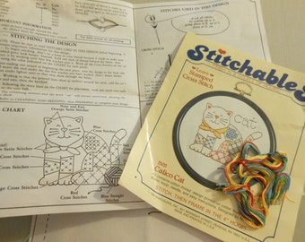 Unfinished Stitchables Calico Cat Kit #7503 Learn Stamped Cross Stitch with directions, yarn, fabric and Hoop
