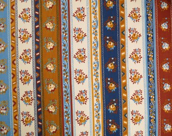 Vintage Sheet Fabric Fat Quarter - Folky Blue and Brown