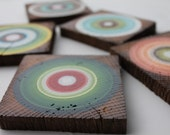 Midcentury Modern Coasters Made from Reclaimed Barn Beam Wood - Office Coasters  - Set of 5  (5RBBWC1)