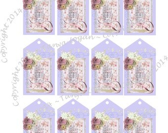Digital Download Gift Tags Floral Small Printable Scrapbook