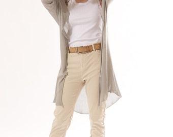Long Cardigan Knitting ,Grey Summer fashion,Gray knit Jacket ,women sweater blouse