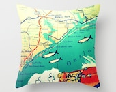 North Carolina Map Pillow | Topsail Island NC | Surf City Beach House | Decorative Throw Pillow Cover | Retro Map Print