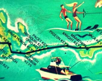 Florida Keys Art, Florida KEYS Map art, Mid Century Modern art, Keys map, Pidgeon Key Marathon retro florida map, FL illustrated map aqua