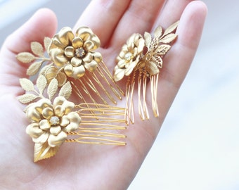 Bridal Hair Vintage Brass Flower Rhinestone Mini Combs, Set of three, Harvest Combs