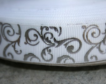 """Beautiful silver swirl demask print over 7/8"""" white grosgrain ribbon. Perfect compliment to WEDDING bows or projects"""