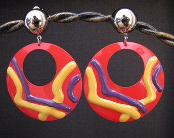 Vintage Retro 1980's Large Red Purple Yellow Crazy Paint Artist clip on Wild hoop Earrings