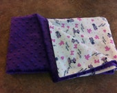 Reserved for Terri - Minky Minnie Mouse Baby Blanket, purple, twin size