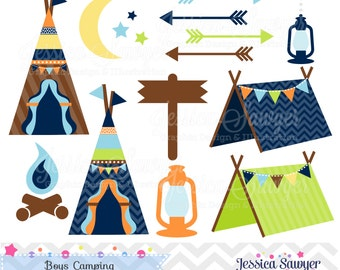 INSTANT DOWNLOAD, boys camping clipart, for camping party, commercial use, personal use