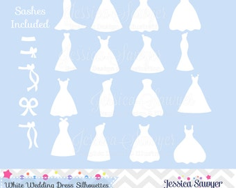 INSTANT DOWNLOAD, white bridesmaid dresses silhouettes clipart, silhouette clipart,  for greeting cards, announcements, scrapbooking