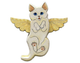 Angel Cat White Household Pet Cat Angel Wooden Wall Hanging