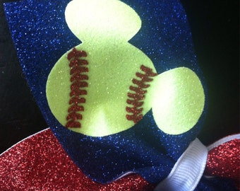Mouse inspired Softball Cheer Bow Decal
