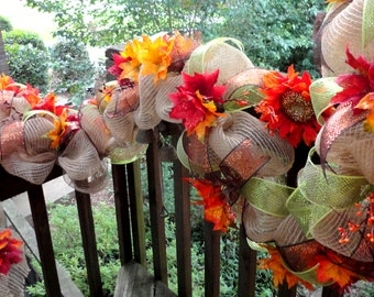 Fall Faux Burlap Garland - Mantle Decor - Centerpiece - Mailbox Swag - Deco Mesh Wreath - Valentines Mesh - Mesh Garland