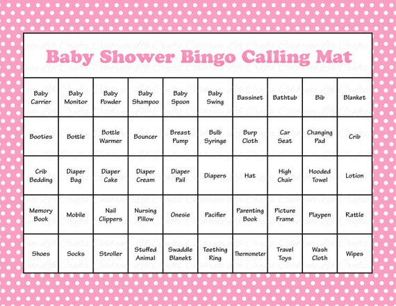 100 Baby Shower Bingo Cards Printable Party Baby Girl