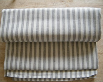 2 Natural Linen Pillowcases - Covers - Euro Shams - Square - Offwhite With Gray Ecru Stripes- Pure Flax - Natural Linen - Bed Linens - Lin