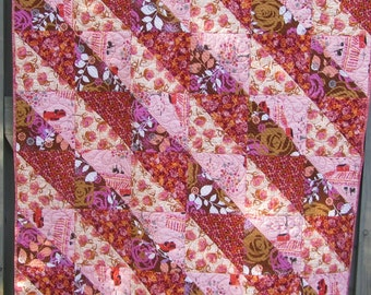 Modern Quilt Pink Peach Purple Floral Throw Mothers Day