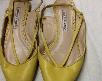 Vintage Manolo Blahnik Yellow Flats