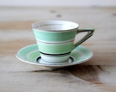 Art Deco demitasse cup and saucer - Green vintage ceramic 'Solian Ware England' demitasse cup and saucer
