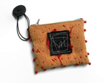 Handmade Embroidered Purse. Mixed Media Wristlet. Burnt Orange. Teal. Burgundy.