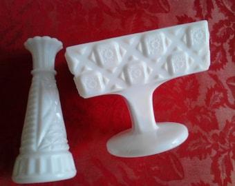 Vintage Milkglass Compote and Vase  ECS