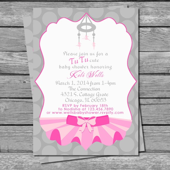 printable tutu cute baby shower invitation