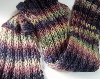 SALE- Scarf, Hand Knit , from Handspun Yarn, Chunky, Striped, Neckwarmer, Merino Wool, Old Vines