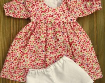 "Red/ Pink Floral Dress for 14"", 16"" Waldorf Dolls"
