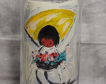 1970's Libbey Glassware Ettore Ted DeGrazia The Flower Boy Native American Children of the Southwest Tumbler Glass Signed by Artist