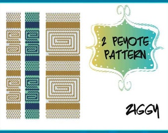 TWO Peyote Pattern - Ziggy Bracelet - Pdf Tutorial