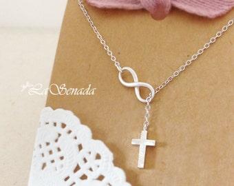 Infinity Cross Necklace, Cross Infinity Lariat Necklace, Cross and Infinity Lariat, Faith Forever