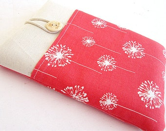 Coral Kindle Sleeve, Kindle fire sleeve cover, nook cover, Google nexus 7 case- Dandelion