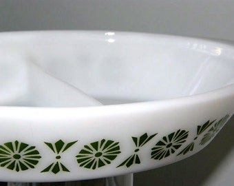 Vintage Glasbake Retro Graphic Green and White Divided Serving Dish