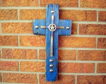 wood and metal rustic cross