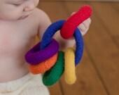 Rainbow Felted Teething Rings