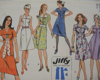 vintage 1970s Simplicity sewing pattern 9355 jiffy dress