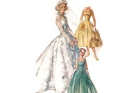 1950s Wedding Dress Pattern Simplicity 2066, Bridesmaid or Evening Gown, Long Line Bodice, Empire Waist, Vintage Sewing Pattern Bust 33