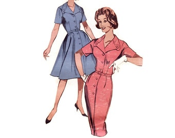 Vintage 1950s Sewing Pattern - Full or Slim Skirt Step-In Dress with Unusual Button Tab Collar - Butterick 9735, Size 18.5, Bust 39