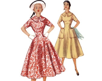 Vintage 50s Sewing Pattern - Figure Flattering Princess Line Dress with Full Skirt & Wide Collar - 1954 Simplicity 1000, Bust 30, Uncut
