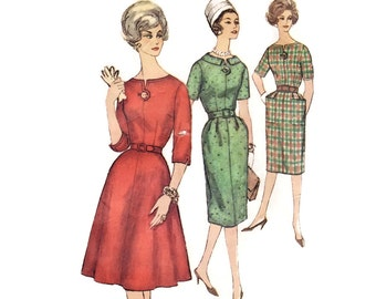 1960s Dress Pattern, Simplicity 3755, Flared or Slim Skirt, Notched Neck, Removable Sleeve & Neck Trim, Vintage Sewing Pattern, Bust 36