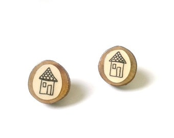 Illustrated House Earrings