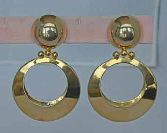 Vintage Golden Hoop Earrings Massive Clips