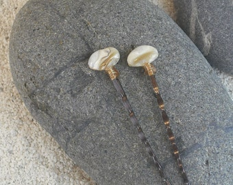 Beaded Seashell Hair Pins Large Cream Bobby Pins Decorative Hair Pins Wedding Bobby Pins