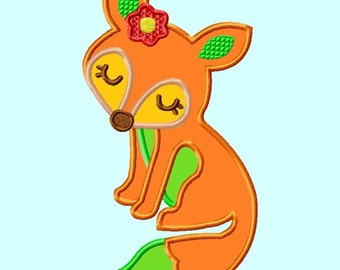 Fox with Flower Applique Embroidery Designs        INSTANT DOWNLOAD