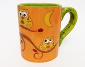 Harvest Moon Owl Mug, Owl Coffee Mug, Owl Mug, , Orange Owl Mug, may gifts, may gifts, june, teacher gift